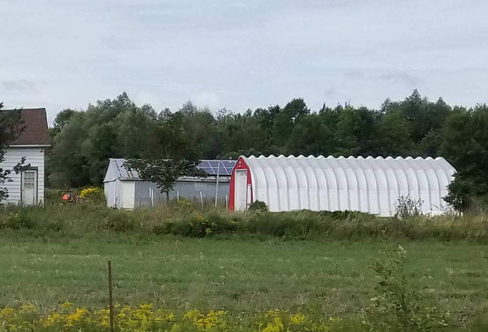quonset garage red front